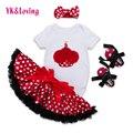 Birthday Baby Clothing Sets Short Sleeve Romper + Headband + Stain Tutu Skirt + Baby Shoes 4 Pcs Lovely Infant Girl Clothes Yi