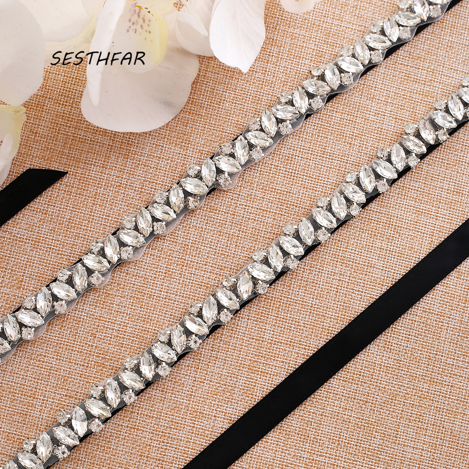 Wedding Belt Crystal Rhinestones Bridal Belt Silver Diamond Bridal Sash For Wedding Gown J135S Long Length