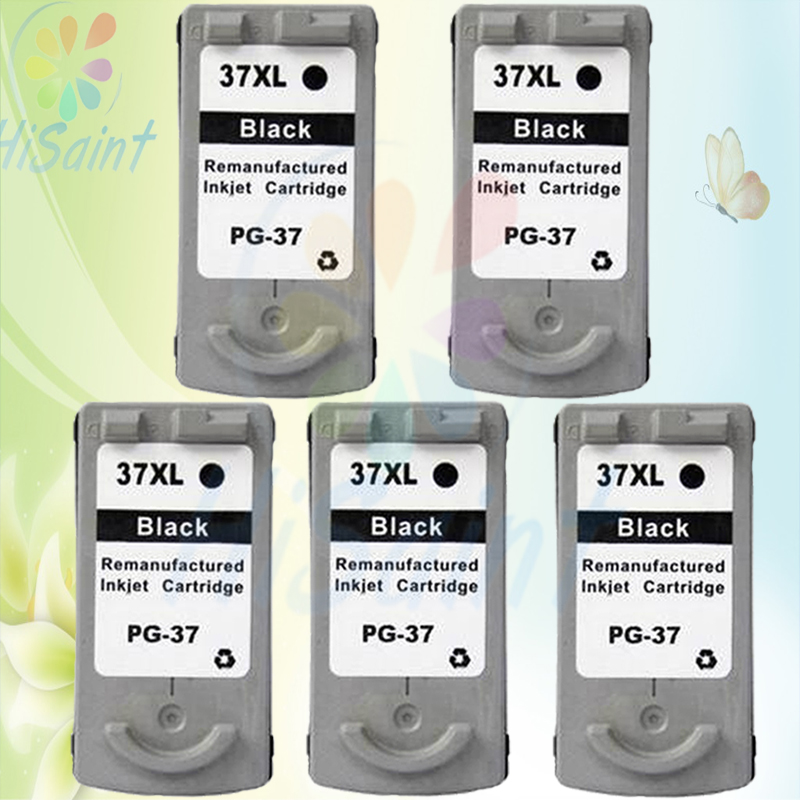 ФОТО New arrivals 5packs black For Canon PG-37 Ink Cartridges PG 37 compatible MP140/160/190/210/220 IP1900/2500printer