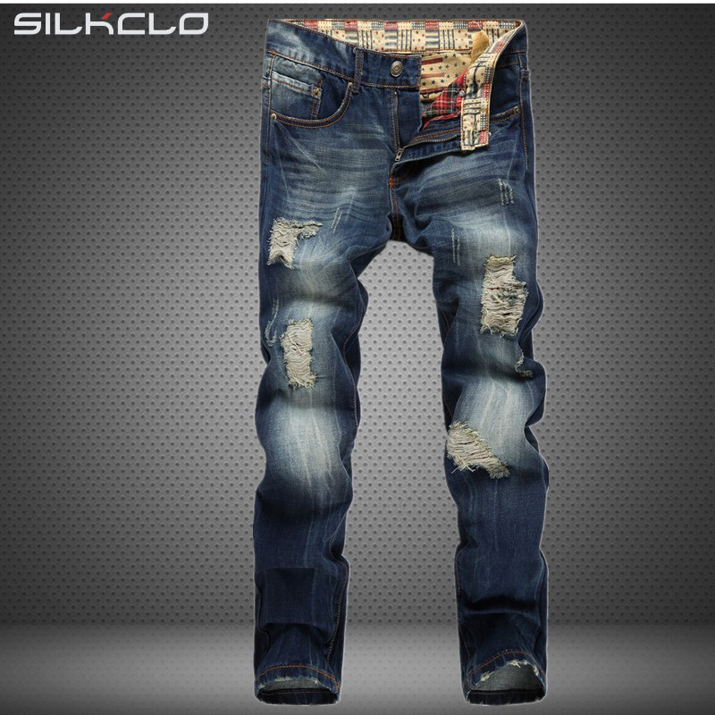 FLC Brand High quality mens jeans hole Casual ripped jeans men hiphop pants Straight jeans for men denim trousers