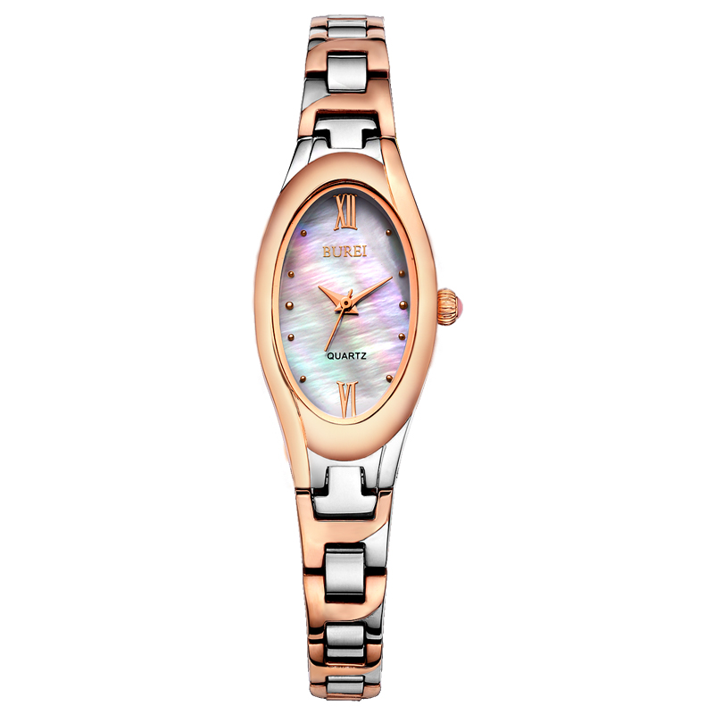 BUREI Brand Lady Sapphire Crystal Oval Shape Quartz Watch Waterproof Fashion Thin Women Wristwatches With Premiums Package 3022 burei brand men sapphire crystal clock quartz watch waterproof calendar display fashion wristwatches with premiums package 13001