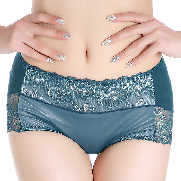 Women Panty Mid-Waist Breathable Panties Sexy Women's Panties Lace Panties Modal Waist the High-Grade Lace Underwear briefs