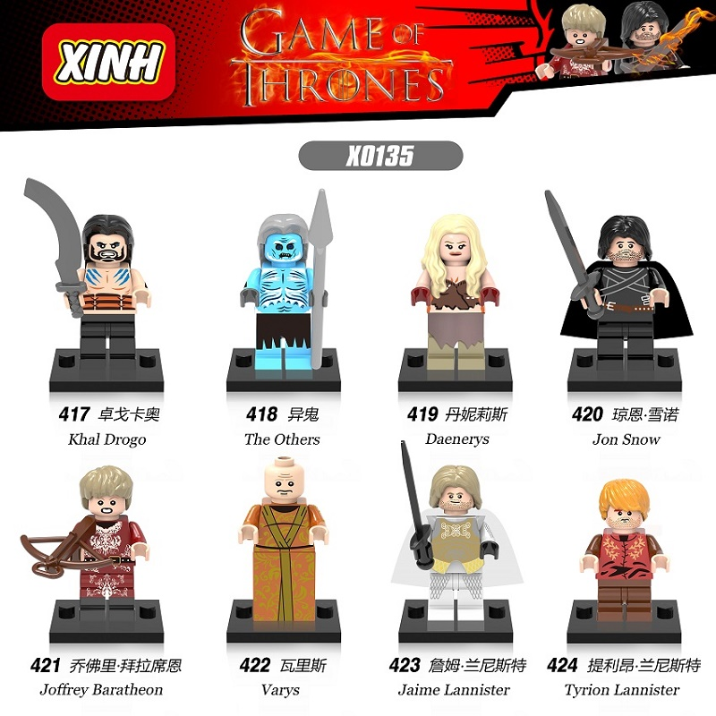 Game of Thrones Jon Snow Lord Varys Khai Drogo Joffrey Baratheon Daenerys Jaime Lannister Building Blocks Bricks Kids Toys X0135 limited edition game of thrones jon snow