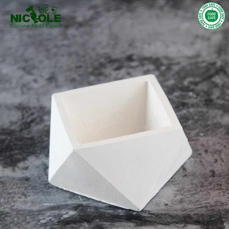 Home Garden Decoration Concrete Geometric Handicraft Flower Pot Molds Silicone Flower Pot Molds Cement Molds