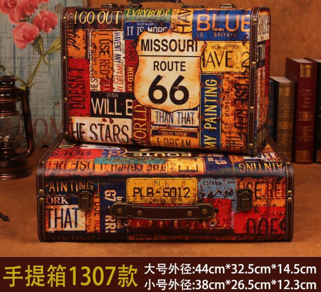 Gushifu boîte en bois valise européenne vintage boîte cadeau boîte à bijoux en bois grande zakka boîte de rangement carte marron cuir impression