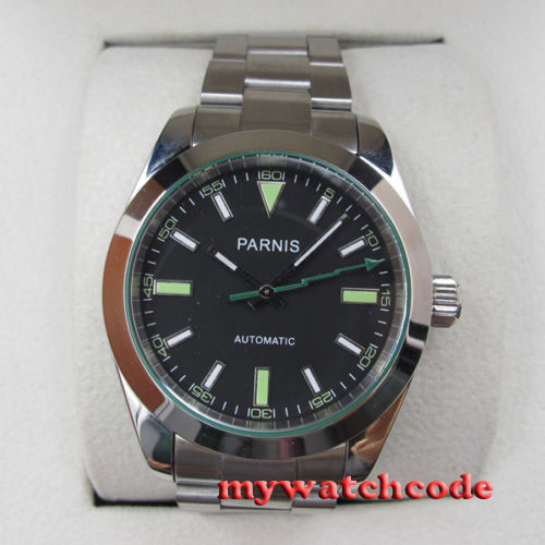 лучшая цена 40mm parnis black dial sapphire glass miyota automatic movement mens watch P440
