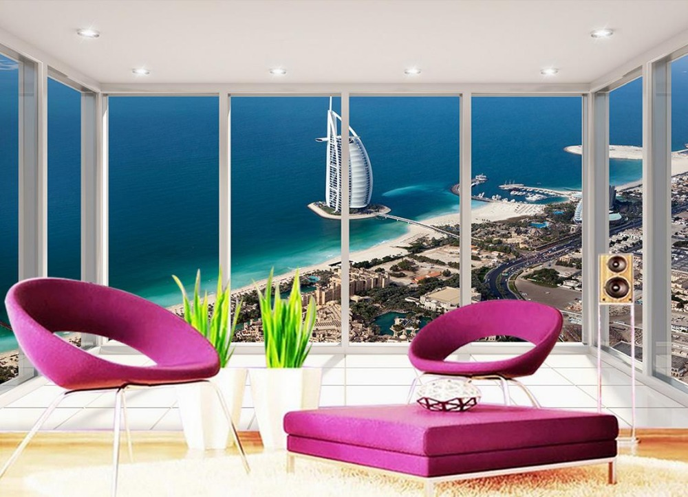 Home decoration balcony views of dubai yacht hotel custom for 3d wallpaper for home in dubai