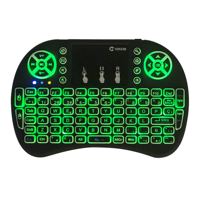 VONTAR i8 keyboard backlit English Russian Spanish Air Mouse 2.4GHz Wireless Keyboard Touchpad Handheld for TV BOX Android X96 2