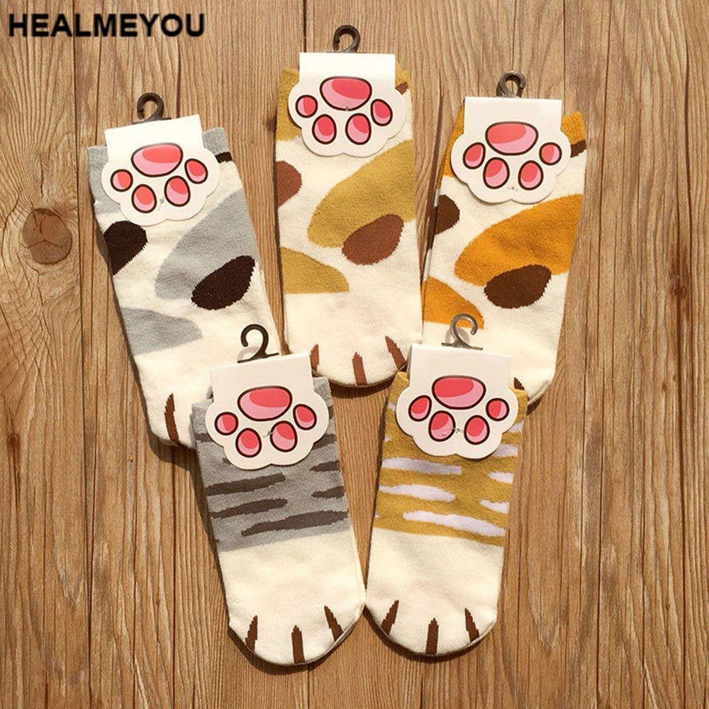 1 Paar Frauen Dame Baumwolle 3d Nette Katze Klaue Print Low Cut Knöchel Kurze Socken Strumpfwaren Herbst Frühling Winter Warme