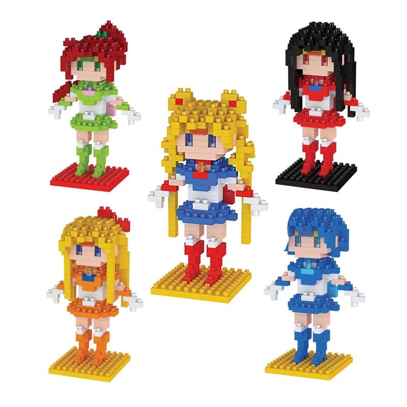 Anime Sailor Moon Crystal Figure Toy DIY Mini Model Diamond Building Blocks 5 Style Tsukino Usagi Action Figure