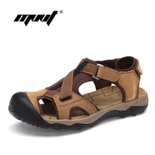 Full Grain Leather Men Sandals Brand Fashion Outdoor Men Shoes Casual Summer Shoes Soft Bottom Beach Sandals For Man