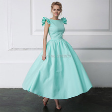 Neue Kommende Mint Green Prom Kleid A-line Satin Langes Abendkleid Party Formale Kleid 2017 Mode Couture Frauen Kleider Vestido De Festa