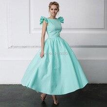 Neue Kommende Mint Green Prom Kleid A-line Satin Langes Abendkleid Party Formale Kleid 2017 Mode Couture Frauen Kleider Vestido De Festa
