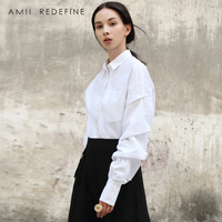 Amii Redefine Blouse Women Autumn 2018 Office Lady Full Sleeve Pockets Solid Notched Butterfly Sleeve Elegant White Black Shirts