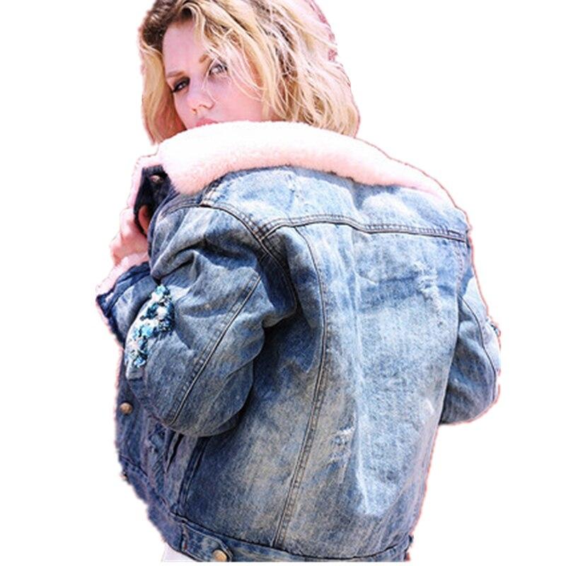 Coton Cachemire Applique De Denim Veste Sun86 Jeans Picture Vêtements Manteau Col Silm Fourrure D'hiver Épaissir Mode Femmes Color Casual vqwxw0p6E