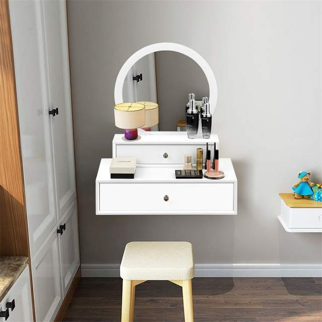 US $92.34 45% OFF|Bedroom Furniture White Makeup Dresser Table Dressing  Wall Mounted Vanity Mirror with 2 Drawer HW61310-in Dressers from Furniture  on ...