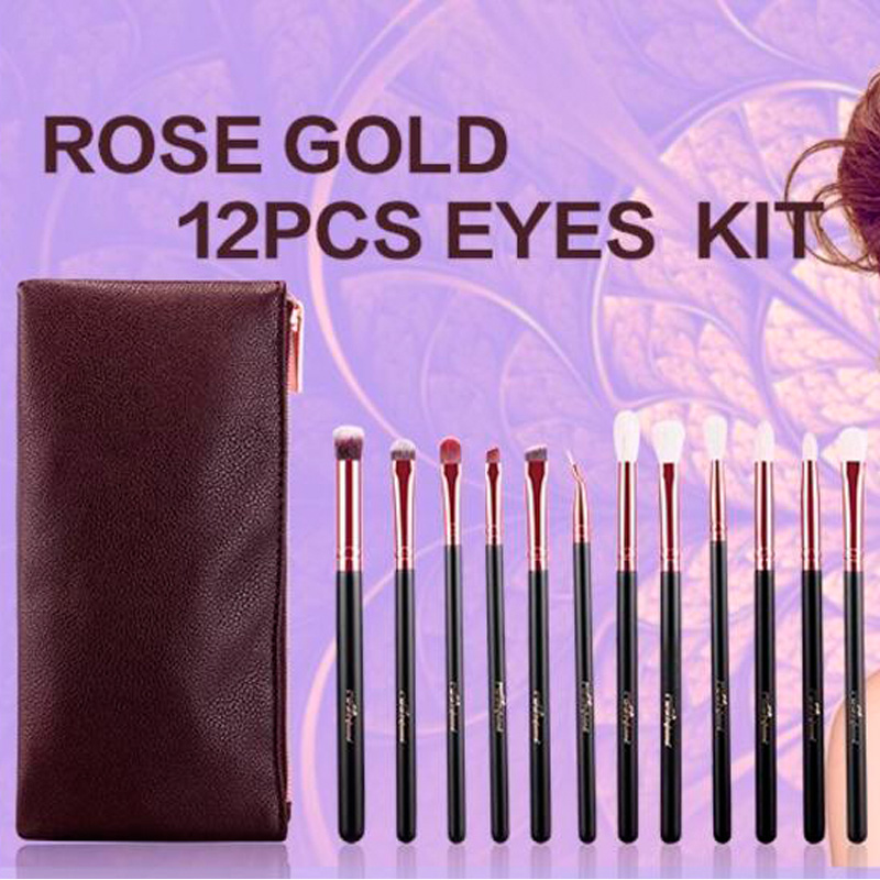 12pc Makeup Brushes Set Pro Cosmetic Brush Eyebrow Foundation Shadows Eyeliner Lip Make Up Tools Kits & Bag 24pcs makeup brushes set cosmetic make up tools set fan foundation powder brush eyeliner brushes leather case with pink puff