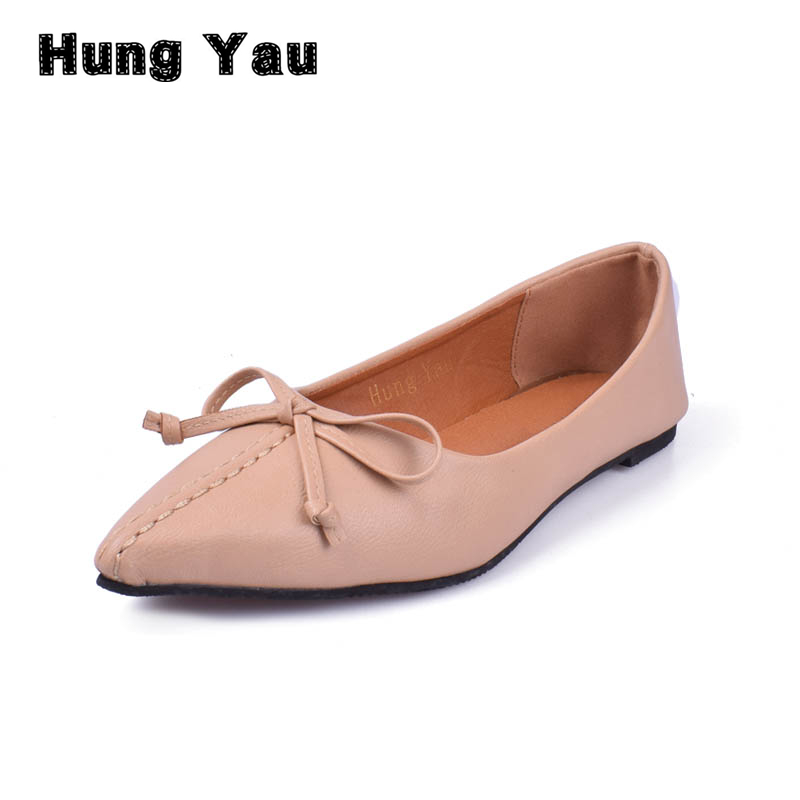 Hung Yau Women Shoes 2018 Spring New Pointed Toe Female PU Leather Flat Shallow Flat Comfortable Slip on Casual Shoes Size US 9 cresfimix women cute spring summer slip on flat shoes with pearl female casual street flats lady fashion pointed toe shoes