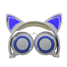 New Kids Cartoon Cat Ear Headset with Light Emitting Foldable Music led Headphones