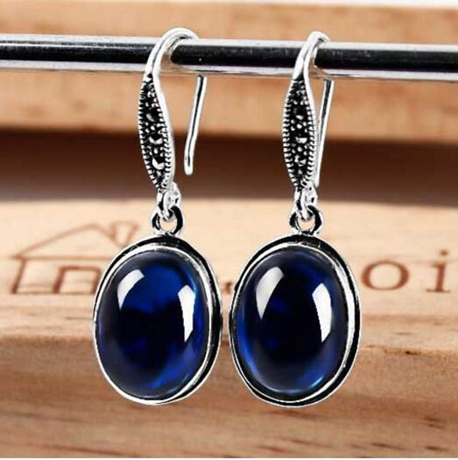 Thai Silver Oval blue corundum Ruby Garnet Earrings retro earrings earrings jewelry Korea fashion women hsp 04001 metal aluminum chassis upgrade parts 03601 for redcat volcano epx exceed infinitive ep 1 10 rc buggy monster truck