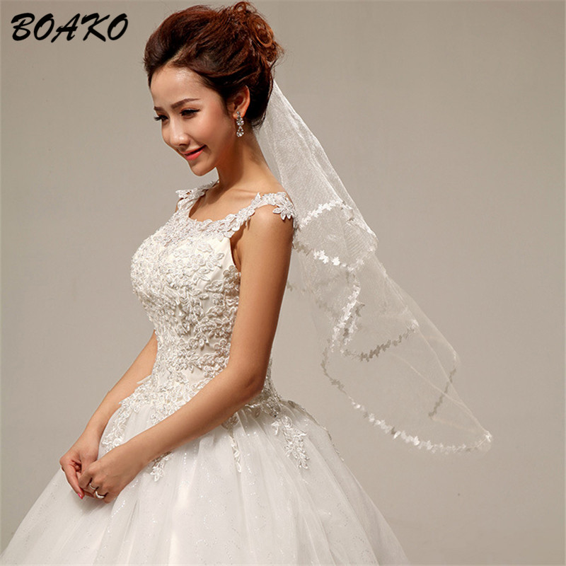 Simple One Layer Short Tulle White Wedding Veils Cheap 2019 Ivory Bridal Veil For Bride For Mariage Wedding Accessories No Comb