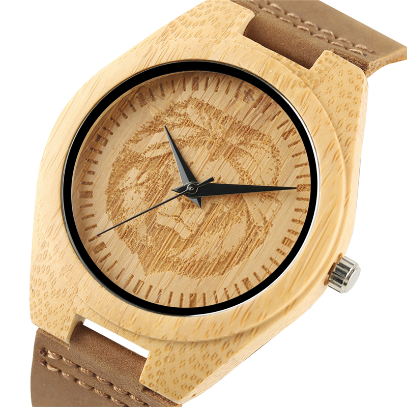 Fashion Natural Wooden Wristwatch for Men Women Lion Tattoo Pattern Stylish Hand-made Bamboo Watch Genuine Leather Quartz Watchs