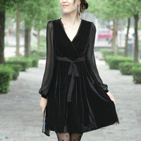Plus Size S 5xl 6xl 7xl 8xl 9xl 10xl Woman Dress 2015 New Spring FASHION Velvet