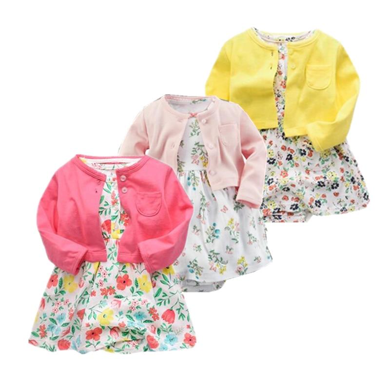Mode 2019 Bayi Perempuan Set Pakaian Musim Semi Baru Lahir Bayi perempuan Pakaian Roupa Bayi Jumpsuits Cotton Bayi dresses 2 pieces set