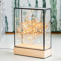 New Fire tree silver flower birthday Christmas gift creative night light LED table lamp Cross section square lamp Nordic style