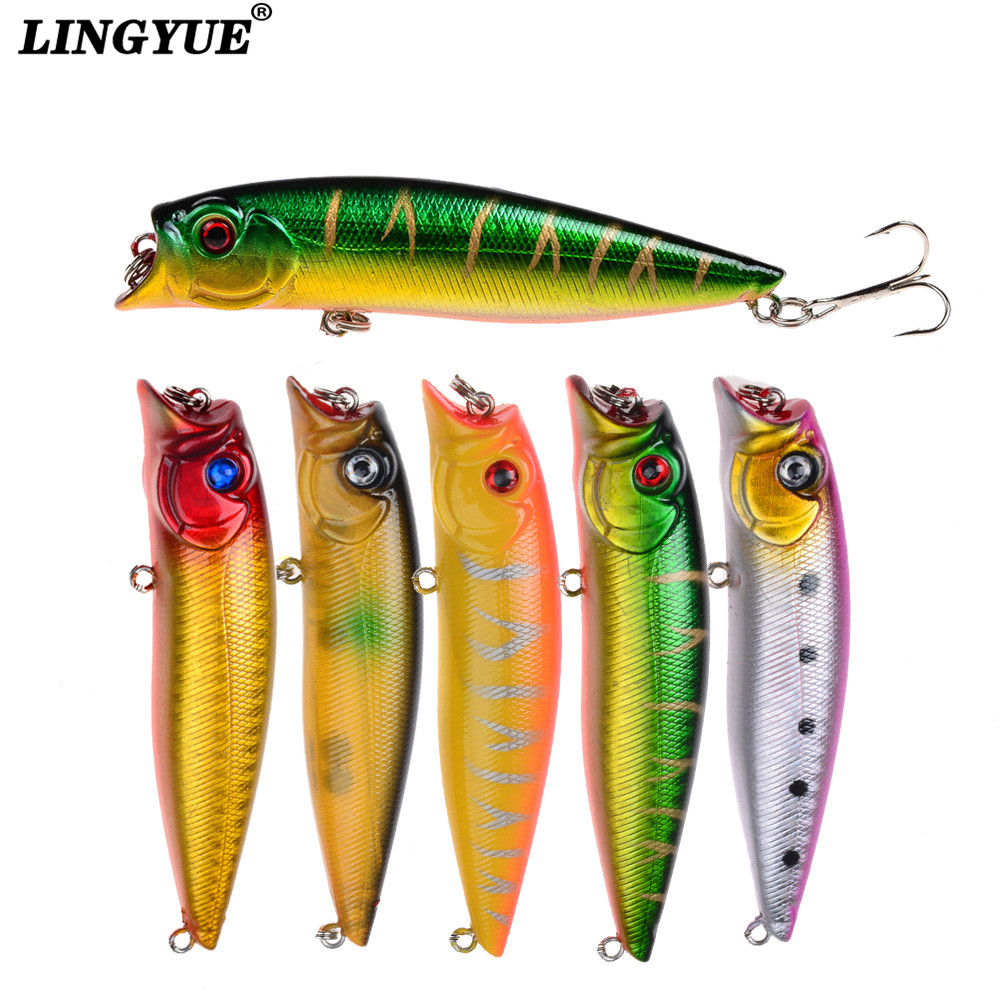 New Arrival Popper Fishing Lures 1pcs Good Quality Fishing Wobbler Hard Baits 6 Color Select Fishing Tackle 6# Hooks bearking professional fishing lures popper 55mm 7 0g hard baits 3d eyes fishing tackle bearking crankbait good hooks