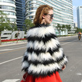 S-XL 2015 autumn and winter long faux fur short design outerwear stripe furry jacket coat for women black white coats with fur