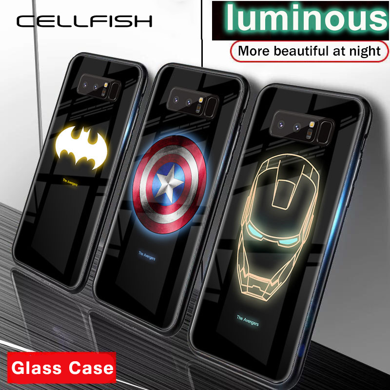 Tempered-Glass-Case Phone-Cover Marvel S9 Note Avengers Glow 9 Coque-Iron Samsung Galaxy