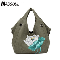 LADSOUL Handbag Canvas Chinese Style Women Handbags Landscape Lotus Hand Painted Clutch Bags For Women National Handbags A5444/h