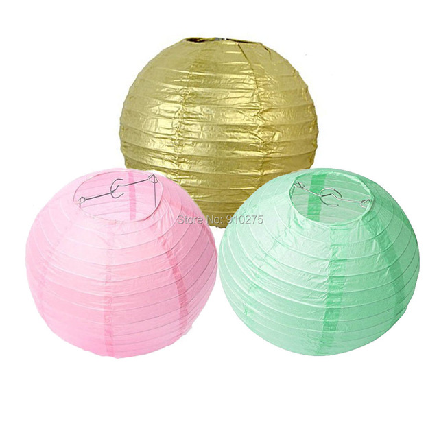 18 pack gold pastel pink mint green round paper lantern lamp shades 18 pack gold pastel pink mint green round paper lantern lamp shades for wedding birthday aloadofball Images