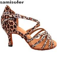 Samisoler Brown 2018 New Latin Dance Shoes Salsa Woman Satin Soft Bottom Fashion Dance Sandals Rhinestone Ballroom Shoes