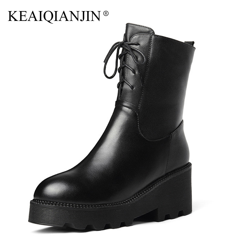 KEAIQIANJIN Woman Lace Up Chelsea Boots High Heels Winter Shearling Gothic Shoes Genuine Leather Wool Snow Martins Botas 2018 серьги diva diva di006dwzgk63