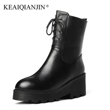 KEAIQIANJIN Woman Lace Up Chelsea Boots High Heels Winter Shearling Gothic Shoes Genuine Leather Wool Snow Martins Botas 2018