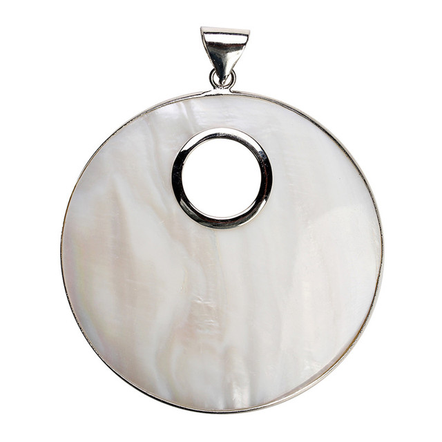 1PC 61x80mm Silver Color Big Round White Natural Mother of Pearl Shell Pendant C