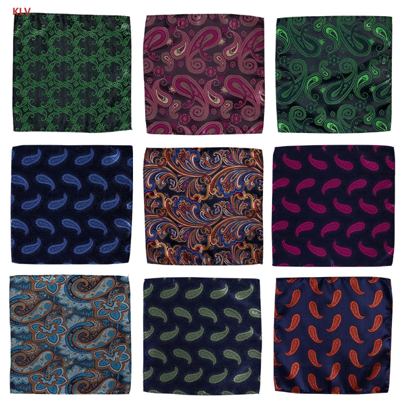 KLV Vintage Gentlemen Paisley Handkerchief Pocket Floral Pocket Square Business Towel Suit Hankies