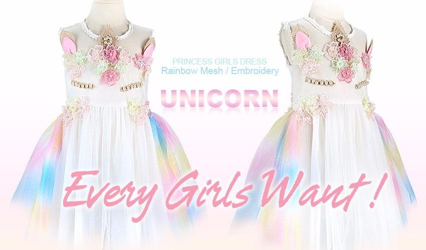 8985eeac04f4 Every Girls Want! Unicorn Baby Girls Dress