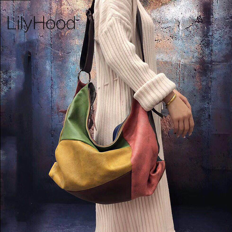 Patchwork Cowhide Leather Hobo Bag Women Casual Big Soft Cowhide Leather Slouch Bag Female Fashion Genuine Leather Shoulder Bag