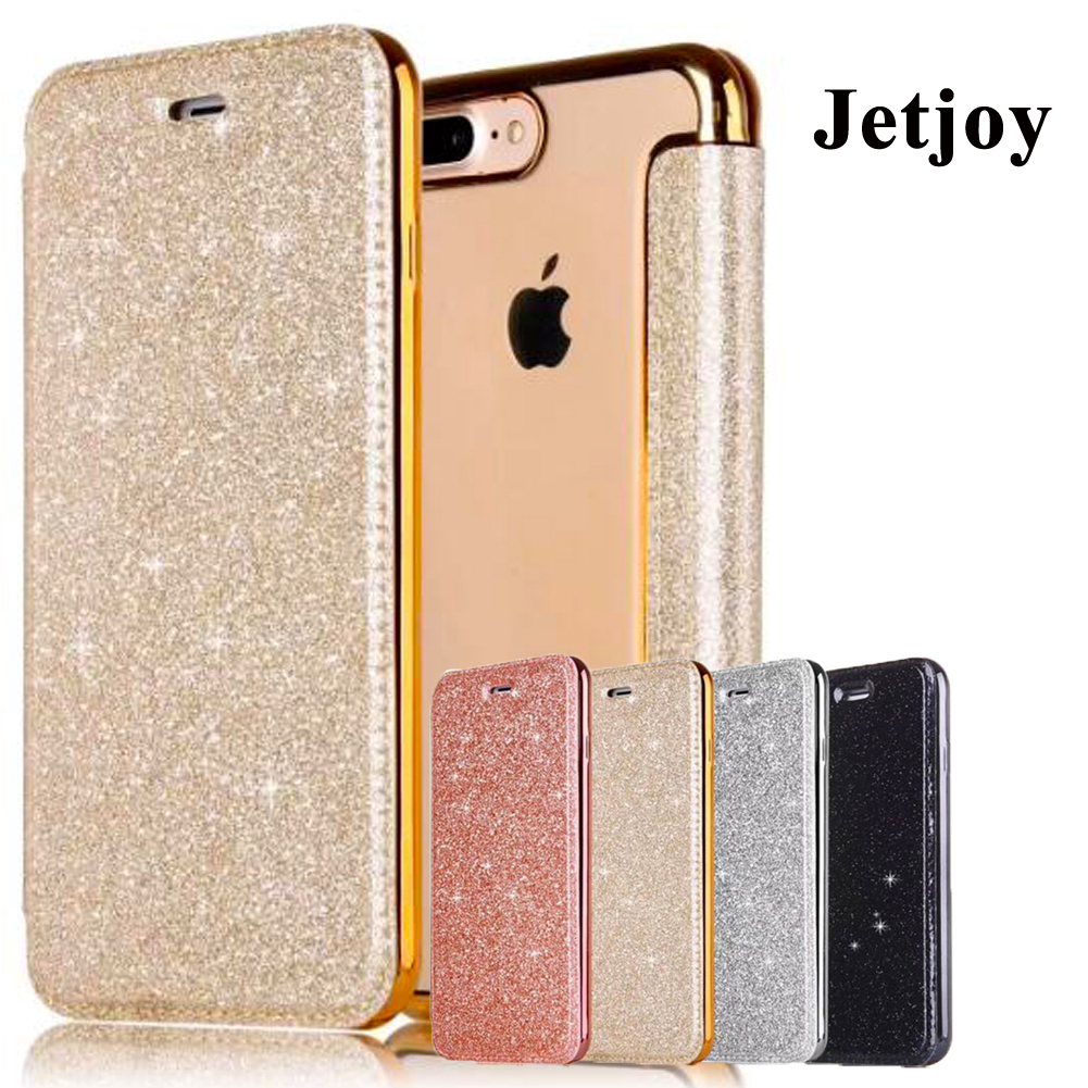 Jetjoy 3D Glitter Wallet Case For iPhone X 8 Plus Silicone Case Hybrid Sparkle Leather Bag Shockproof Full Cover Phone Cases