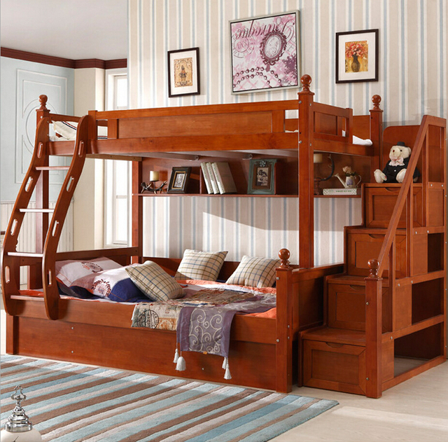 Webetop Customizable American Country Wood Childrens Bunk Beds With