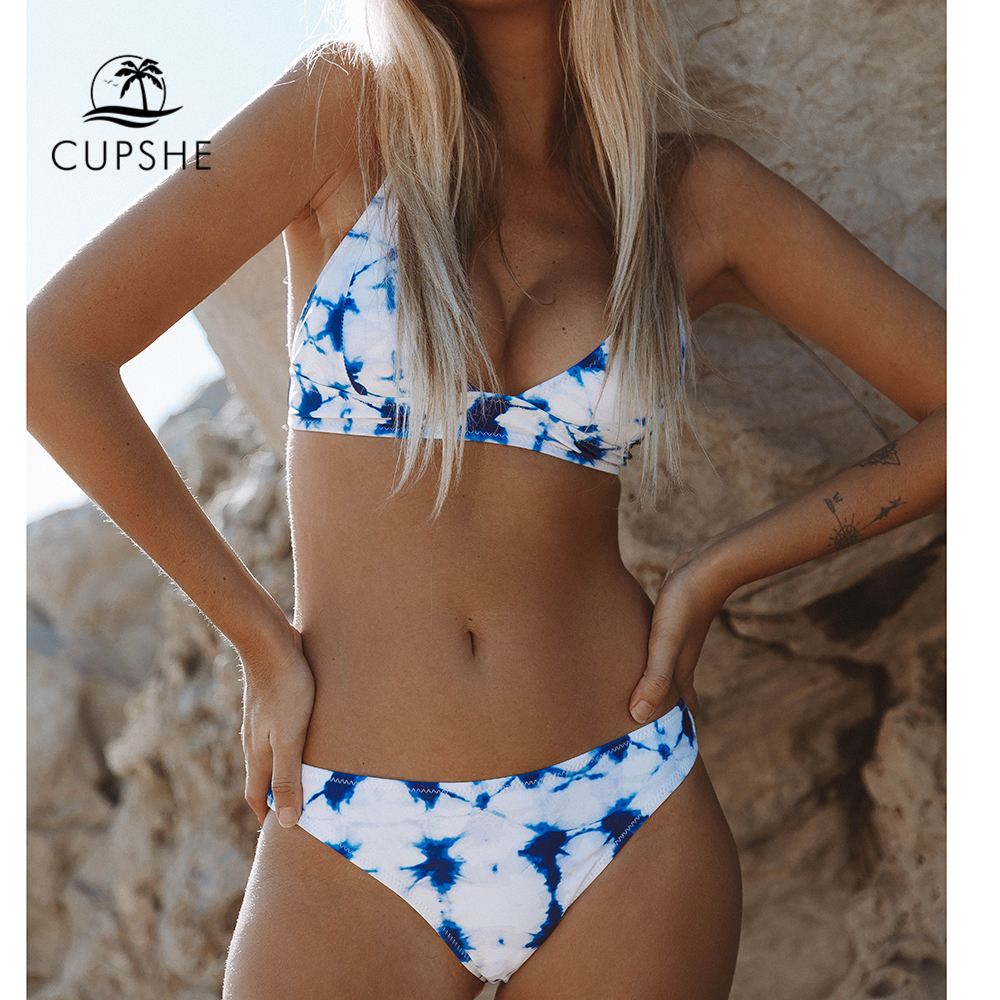 CUPSHE Blue Tie-dye Bikini Sets Women Lace Up Sexy Thong Two Pieces Swimsuits 2020 Girl Cute Beach Bathing Suits