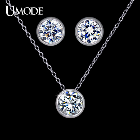 UMODE Jewelry Set for Women with 1 Pair of Small Cute Stud Earrings & 1 White Gold Color CZ Stone Chain Pendant Necklace US0026 pair of graceful rhinestone triangle earrings jewelry for women