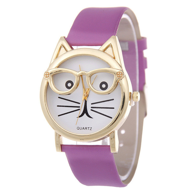 Famous Leopard White Black Strap Fashion Cat Glass Dial Leather Watch Casual Wom