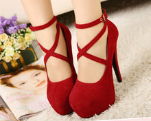 Round within 2015 fashion sexy high heels shoes waterproof belt buckle shoes
