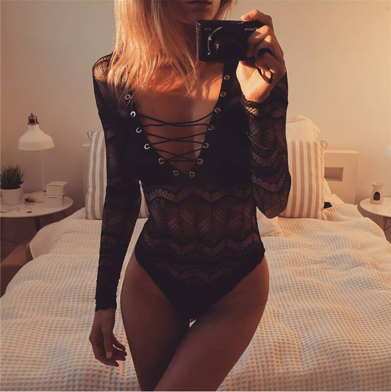 2020 Sexy Bodysuit Women Bodycon Lace Up Jumpsuit Long Sleeve Leotard Top Thin Transparent Playsuit