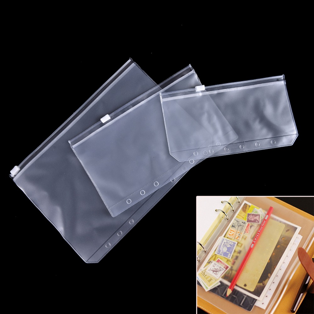 For A5/A6 Transparent PVC Storage Card Bag Traveler Notebook Diary Planner Zipper Bag Filing Waterproof School Office Supplies