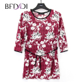 BFDADI 2017 Women Spring Autumn Tops 3/4 Sleeve O-neck Lady T-Shirt Flowers Printed Shirt Women Casual Clothing Large Size 9208